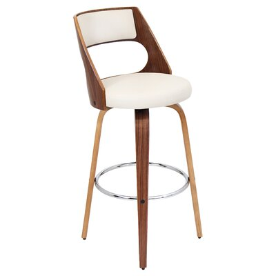 Kistler Swivel Bar Stool Base Finish: Walnut, Upholstery: Cream