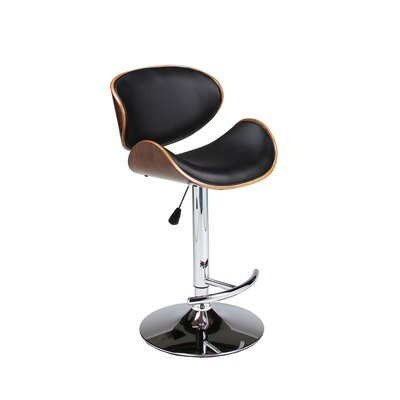Syracuse Adjustable Height Swivel Bar Stool Upholstery: Black
