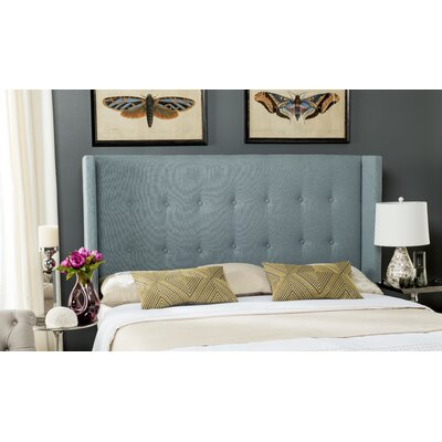 Yale Upholstered Wingback Headboard Size: King, Color: Sky Blue