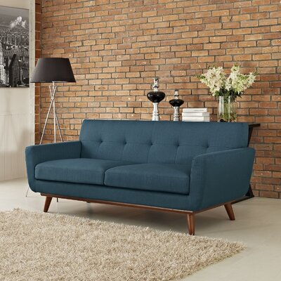 Johnston Tufted Upholstered Sofa Upholstery: Azure
