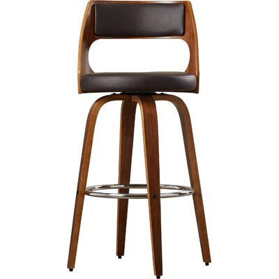 Kistler Swivel Bar Stool Base Finish: Walnut, Upholstery: Brown