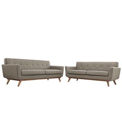 Saginaw Loveseat and Sofa Set Upholstery: Granite