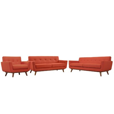 Saginaw 3 Piece Living Room Set Upholstery: Atomic Red