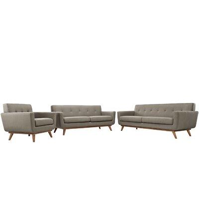 Saginaw 3 Piece Living Room Set Upholstery: Granite