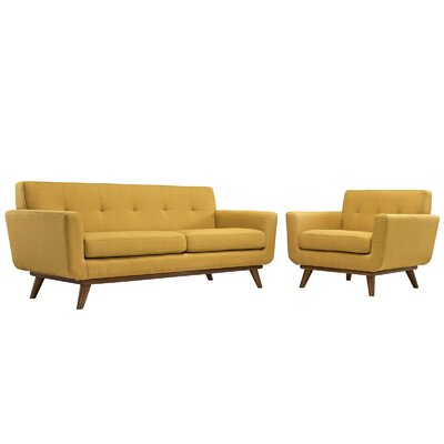 Saginaw Arm Chair and Loveseat Set Upholstery: Citrus