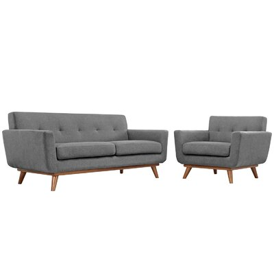 Saginaw Arm Chair and Loveseat Set Upholstery: Gray