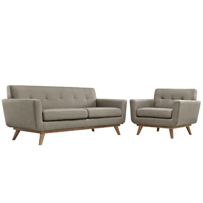 Saginaw Arm Chair and Loveseat Set Upholstery: Granite