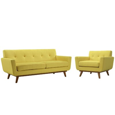 Saginaw Armchair and Loveseat Set Upholstery: Sunny