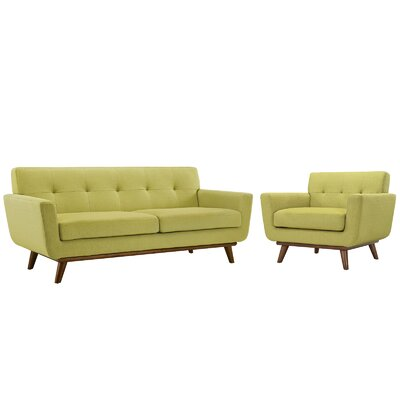 Saginaw Armchair and Loveseat Set Upholstery: Wheat