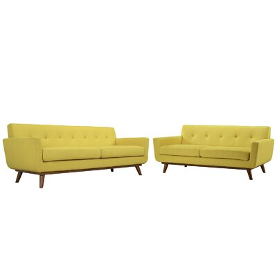 Saginaw Loveseat and Sofa Set Upholstery: Sunny