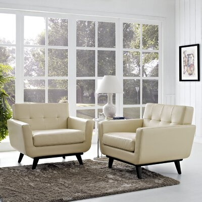 Saginaw Leather Sofa Set Fabric: Beige