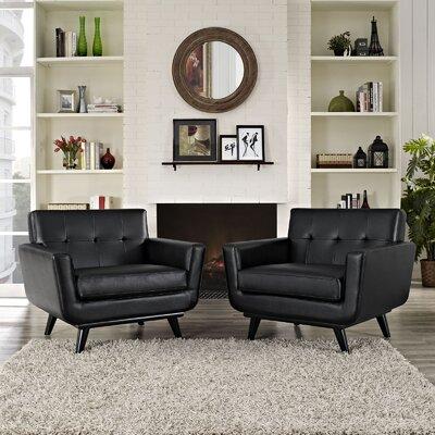 Saginaw Leather Sofa Set Fabric: Black