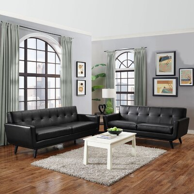 Saginaw 2 Piece Leather Living Room Set Upholstery: Black