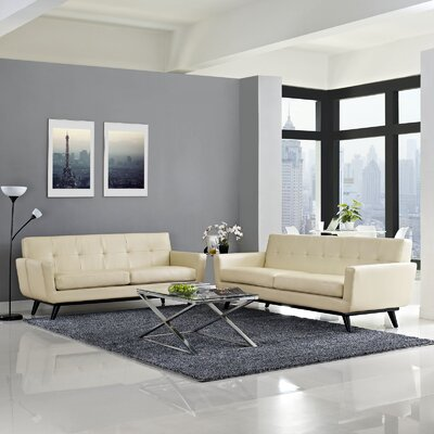 Saginaw Leather 2 Piece Living Room Set Upholstery: Beige