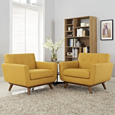 Saginaw Chair and a Half (Set of 2) Upholstery: Citrus