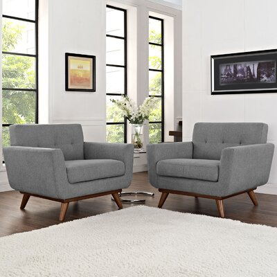 Saginaw Chair and a Half (Set of 2) Upholstery: Gray
