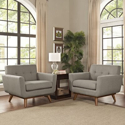 Saginaw Chair and a Half (Set of 2) Upholstery: Granite