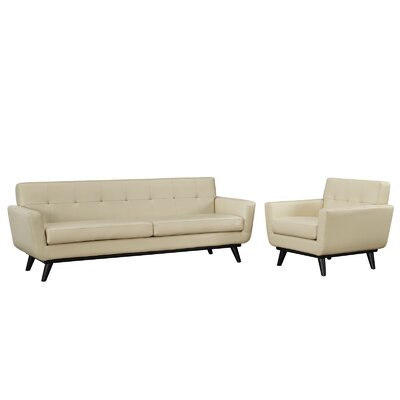 Saginaw 2 Piece Leather Living Room Set Upholstery: Beige