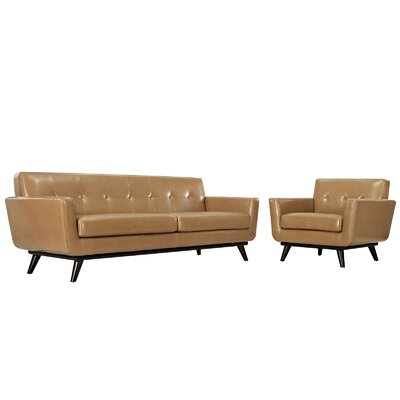 Saginaw 2 Piece Leather Living Room Set Upholstery: Tan