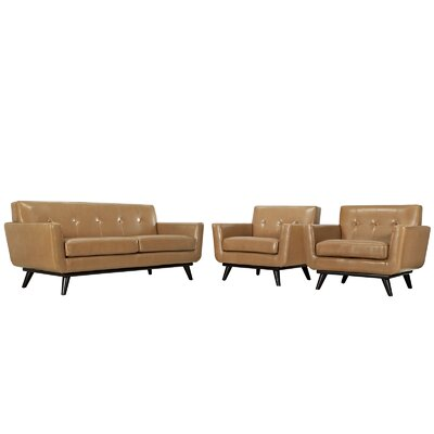 Saginaw Leather 3 Piece Living Room Set Upholstery: Tan