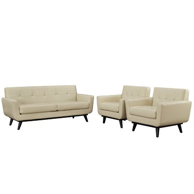 Saginaw 3 Piece Leather Living Room Set Upholstery: Beige