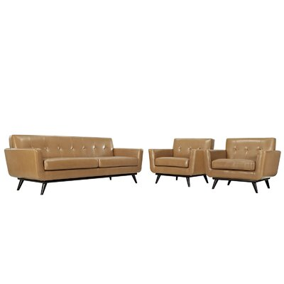 Saginaw 3 Piece Leather Living Room Set Upholstery: Tan