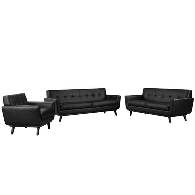 Saginaw 3 Piece Leather Living Room Set Upholstery: Black