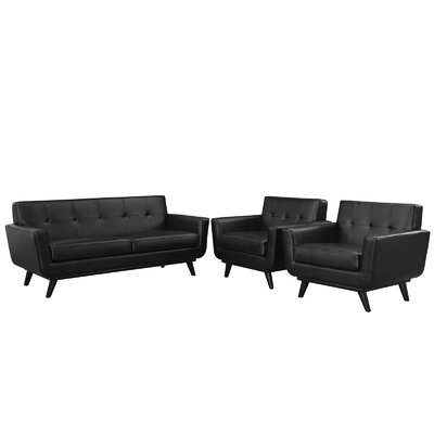 Saginaw 3 Piece Leather Living Room Set