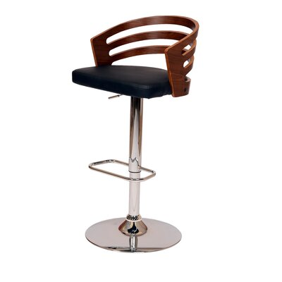 Hancock Adjustable Height Swivel Bar Stool Upholstery: Black