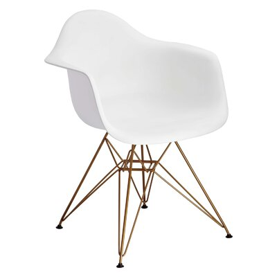 Mohnton Arm Chair (Set of 2) Finish: White / Gold