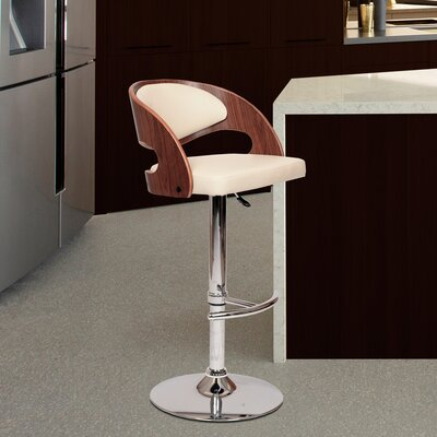 Garland Adjustable Height Swivel Bar Stool Upholstery: Cream