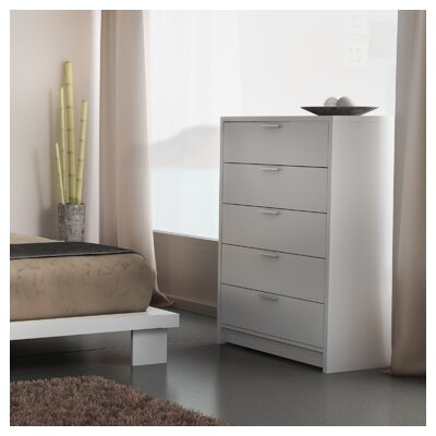 Miami 5 Drawer Chest Color: White