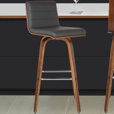Denise 30 Swivel Bar Stool Upholstery: Gray
