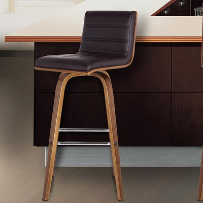 Denise 30 Swivel Bar Stool Upholstery: Brown