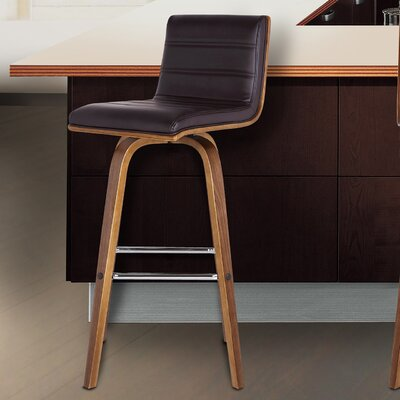 Denise 26 Swivel Bar Stool Upholstery: Brown