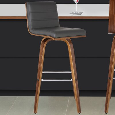 Denise 26 Swivel Bar Stool Upholstery: Gray