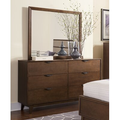 Mid Mod 6 Drawer Dresser with Mirror