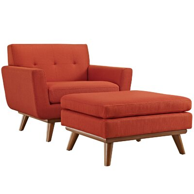 Saginaw Armchair and Ottoman Upholstery: Atomic Red