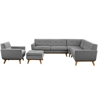Saginaw 5 Piece Living Room Set Upholstery: Gray