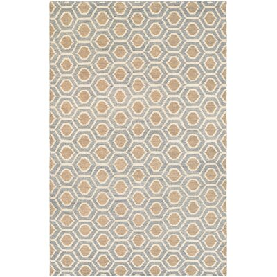 San Diego Steel Hand-Knotted Blue/Camel Area Rug Rug Size: Rectangle 96 x 136