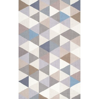 Arvada Anderson Hand-Hooked Gray/Beige Area Rug Rug Size: 5 x 8