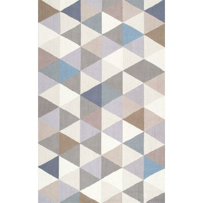 Arvada Anderson Hand-Hooked Gray/Beige Area Rug Rug Size: 76 x 96