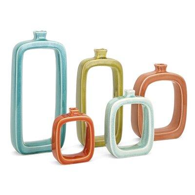 5 Piece Blue/Green/Brown/Gray Vase Set