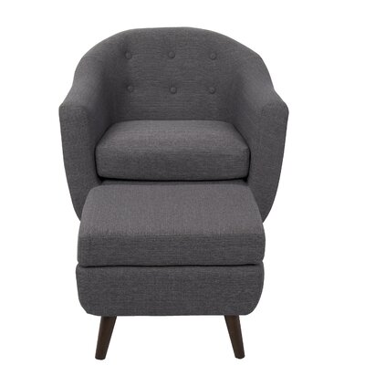 Henley Barrel Chair and Ottoman Upholstery: Charcoal Gray