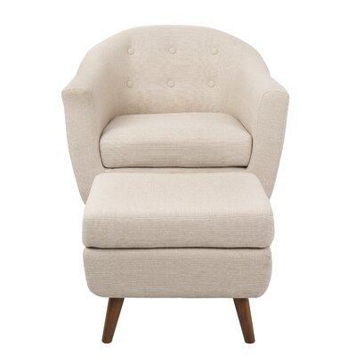 Henley Barrel Chair And Ottoman Upholstery: Beige