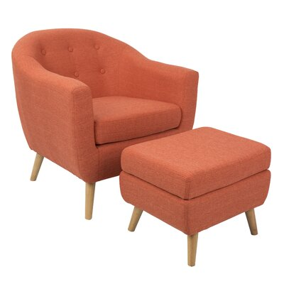 Henley Barrel Chair and Ottoman Upholstery: Orange