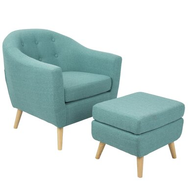 Henley Barrel Chair and Ottoman Upholstery: Teal