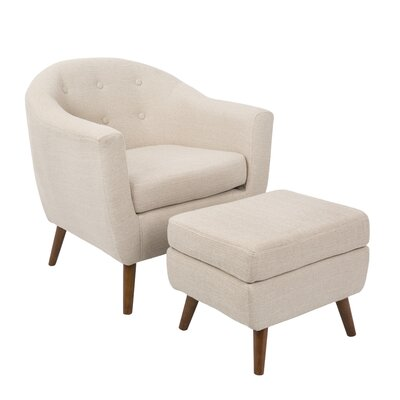 Laurence Barrel Chair and Ottoman Upholstery: Beige