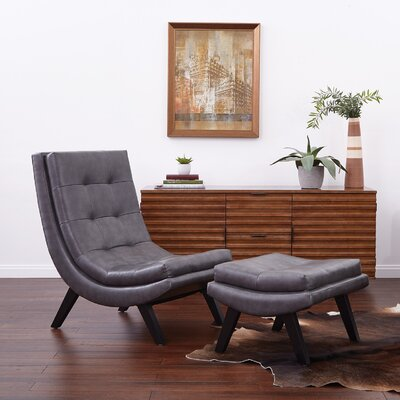 Woodbine Lounge Chair and Ottoman Set Upholstery: Pewter