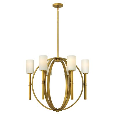 Dana 6-Light Shaded Chandelier Finish: Polished Nickel